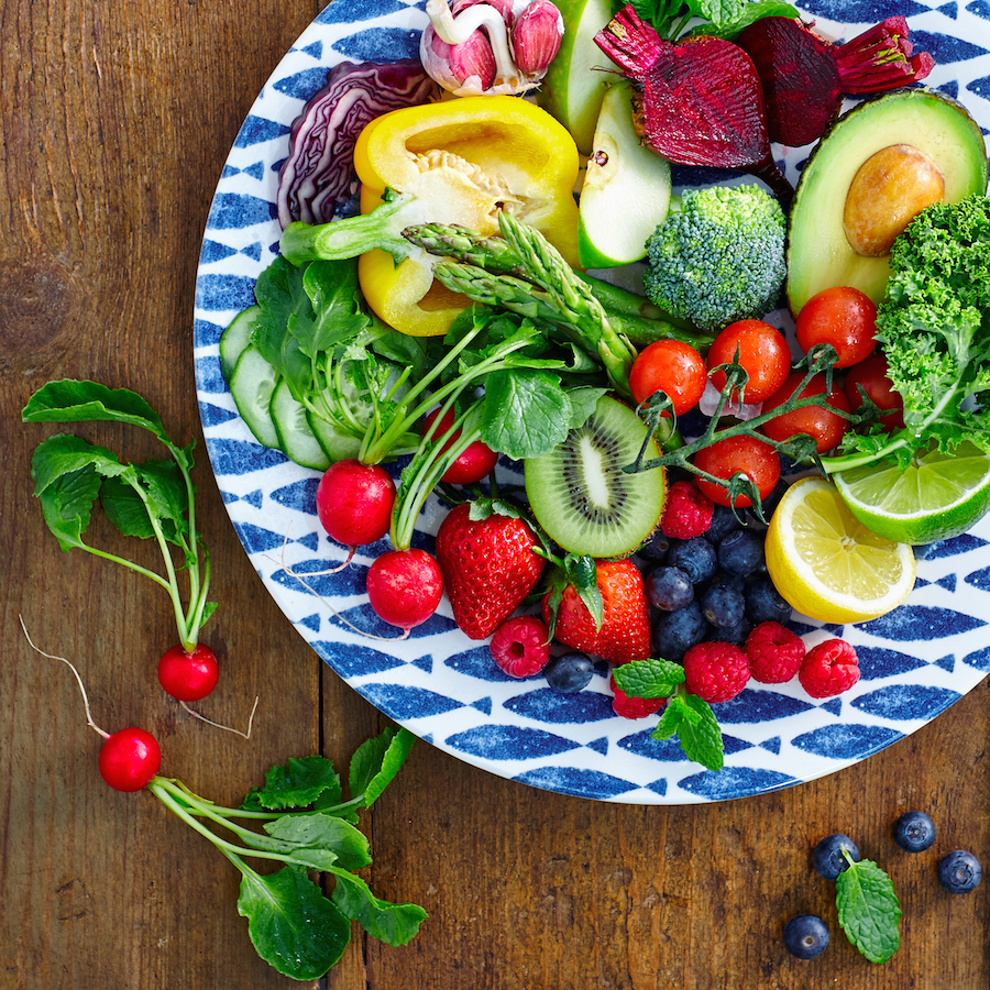nutrition and well-being Fresh fruits and vegetables salad